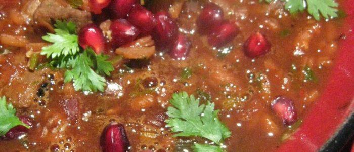 Shorbat rumman (Iraqi pomegranate stew)
